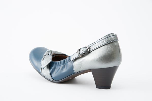 blanc / blue(ブランブルー)2523 ネイビーコンビ 甲リボン2wayゴムパンプス